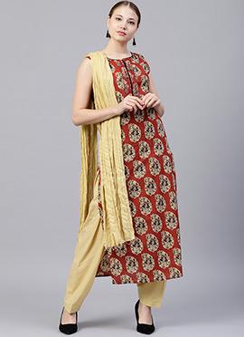 Maroon Printed Salwar Suit