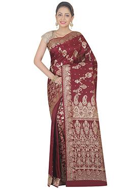 Maroon Pure Benarasi Silk half N Half Saree