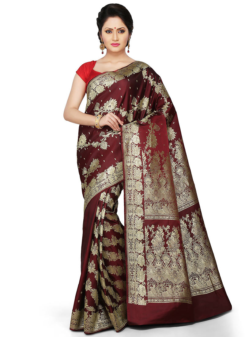 Buy Maroon Pure Benarasi Silk Half N Half Saree Benarasi
