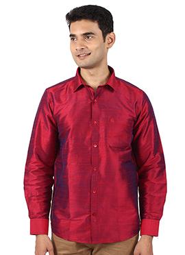 Maroon Pure Dupion Silk Shirt