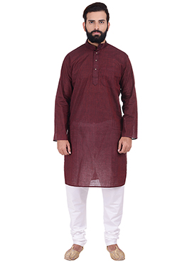Maroon Pure Handloom Cotton Kurta Pyjama