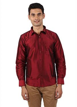Maroon Pure Raw Silk Shirt
