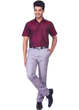 Maroon Pure Silk Classic Shirt