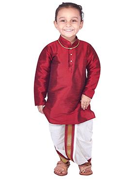 Maroon Pure Silk Kids Dhoti Kurta