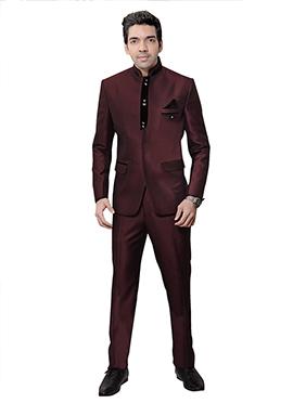 Maroon Rayon Bandhgala Suit