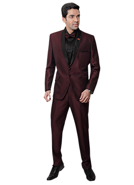Maroon Rayon Lapel Suit