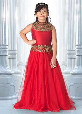 Red Art Silk Net Anarkali Gown