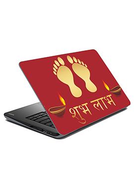 Maroon Shubh Labh Laptop Skin