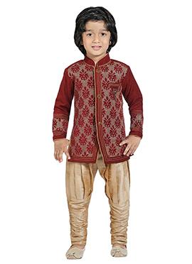 Maroon Silk Blend Boys Indowestern Sherwani