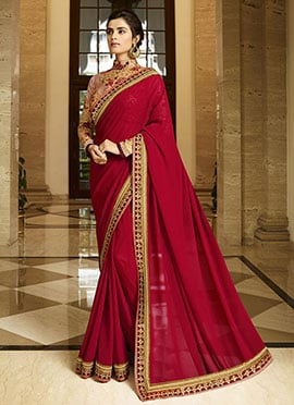 Maroon Silk Border Saree
