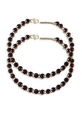 Maroon Stone Studded Anklets