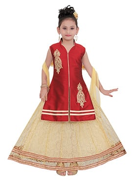 Maroon Taffeta Kids Long Choli Lehenga