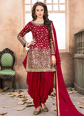 Maroon Taffeta Salwar Suit