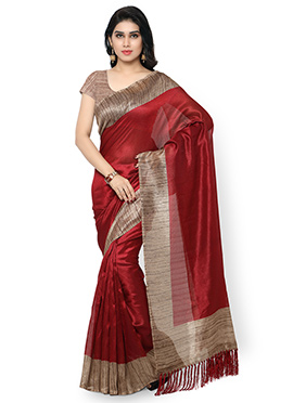 Maroon Tussar Silk Saree