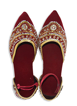 Maroon Velvet Embroidered Juti Style Sandals
