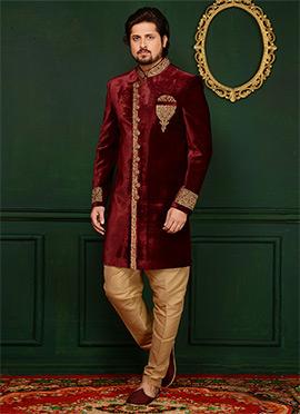 Maroon Velvet Indowestern Sherwani