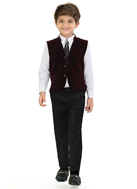 Maroon Velvet Kids Suit