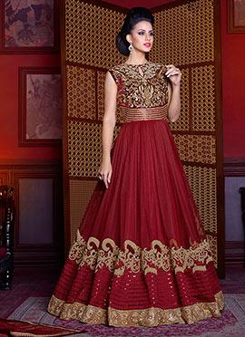 Maroon Velvet Net Abaya Style Anarkali Suit