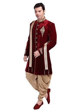 Maroon Velvet Patiala Style Sherwani