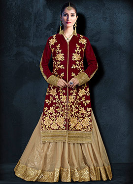 Maroon Velvet Umbrella Long Choli Lehenga