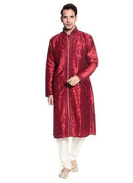 Maroonish Red Art Dupion Silk Sherwani