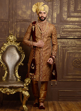 Marron Art Silk Angrakha Sherwani