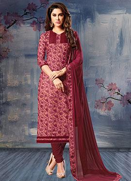 Marron Silk Cotton Churidar Suit