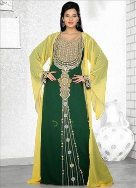 Marvelous Green Georgette Fustan