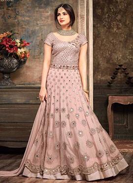 Mauve Abaya Style Anarkali Suit