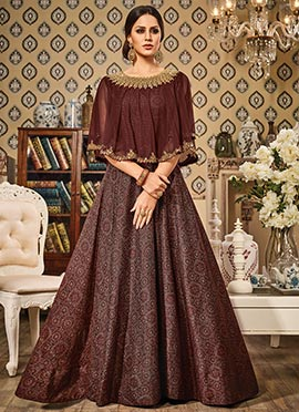 Brown Art Silk Cape Style Anarkali Suit