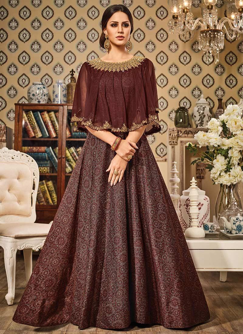 Buy Brown Art Silk Cape Style Anarkali Suit Printed
