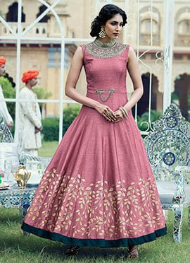 Mauve Art Silk Ankle Length Anarkali Suit