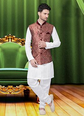 Mauve Art Silk Brocade Nehru Jacket