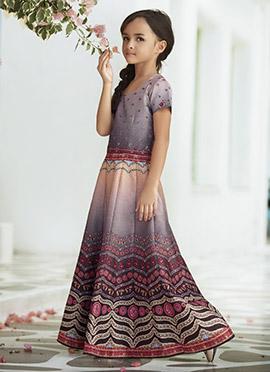 Mauve Art Silk Kids Gown