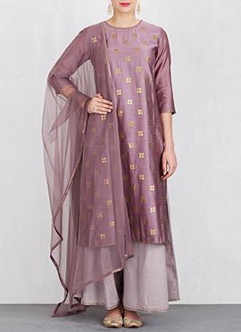 Mauve Art Silk Palazzo Suit