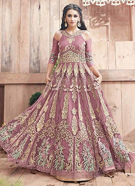 Mauve Cold Shoulder Abaya Style Anarkali Suit