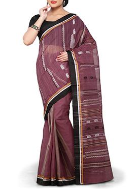 Mauve Cotton Bengal Handloom Saree