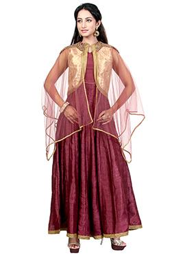 Mauve Dupion Silk Anarkali Suit