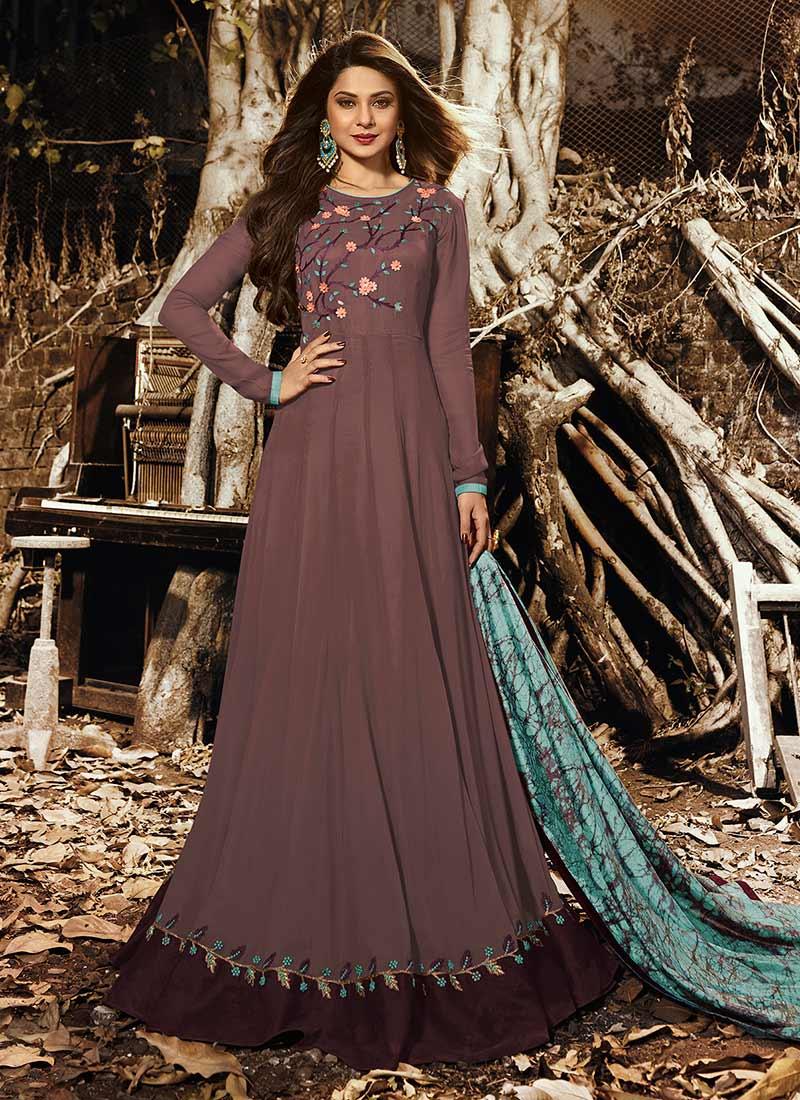 Buy Jennifer Winget Mauve Embroidered Anarkali Suit ...