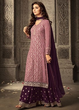 Mauve Embroidered Palazzo Suit