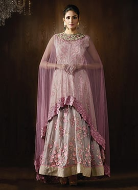 Mauve Floor Length Cape Anarkali Suit