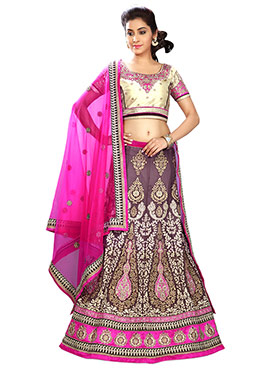 Mauve Heavy Embroidered A Line Lehenga Choli