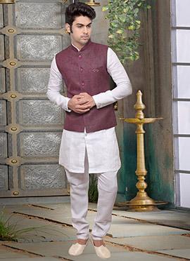 Mauve Jute Nehru Jacket