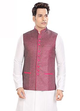 Mauve Linen Nehru Jacket