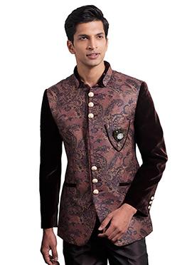 Brown N Black Blended Cotton Bandhgala Jacket