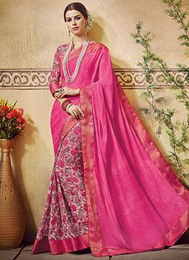 Mauve N Deep Pink Georgette Printed Half N Half Saree
