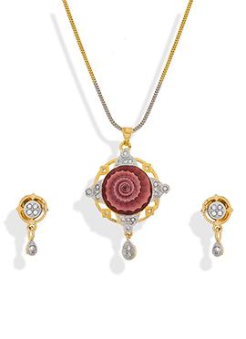 Mauve N Gold Stone Studded Pendant Set