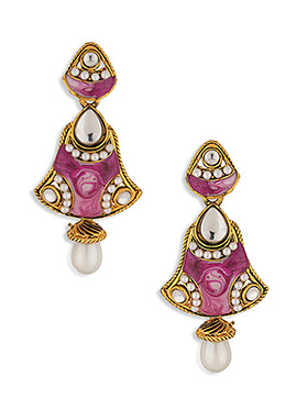 Mauve N Golden Colored Pearl Studded Drop Earrings