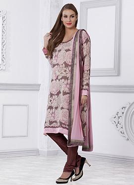 Mauve N Pink Printed Churidar Suit