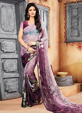 Mauve N Purple Ombre Brasso Printed Saree